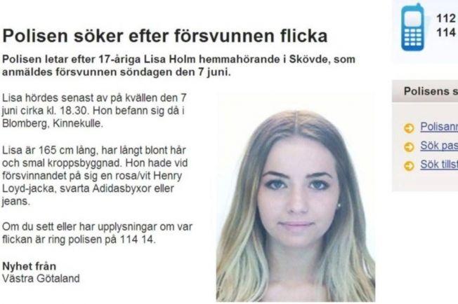 Общество, В Швеции уже почти неделю ищут 17-летнюю Лизу Хольм | В Швеции уже почти неделю ищут 17-летнюю Лизу Хольм